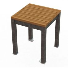 Thomas Steele Monona Dining Stool with Ipe wood and Galvanized frame
