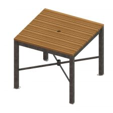 Thomas Steele Monona Square Dining Table with Ipe wood and Galvanized frame