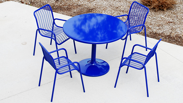 Blue Cafe Tables and Chairs