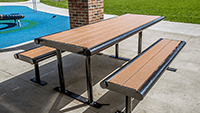 Outdoor picnic table made of recycled plastic.